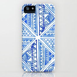 Watercolor Painting Traditional Aztec Inca Style Geometric Pattern Squares Seamless Pattern iPhone Case