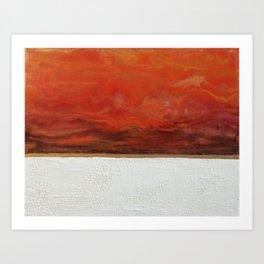 Northern Lights (red) Original Encaustic Painting Art Print