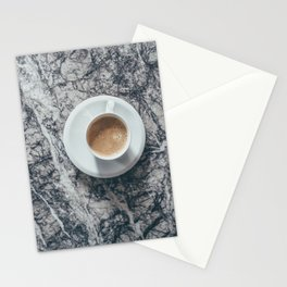 Coffee on Marble Background Stationery Cards