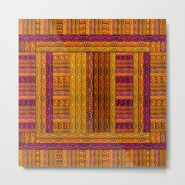 """Orange vintage textile patches"" Metal Print"