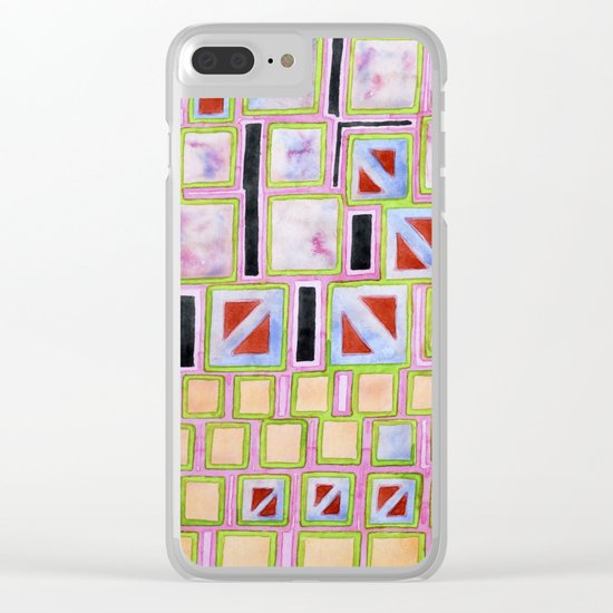 Composition out of Three Kind of Squares Clear iPhone Case