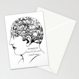 Phrenology symbolic head, psychology, psychiatry psychoanalysis Stationery Cards