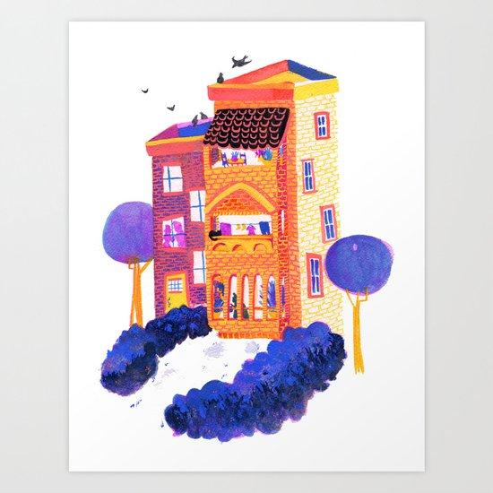 Apartment in Orange and Purple Art Print