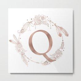 Letter Q Rose Gold Pink Initial Monogram Metal Print