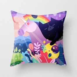 Cat & Unicorn Throw Pillow