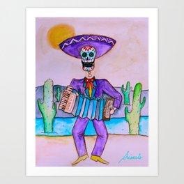 Mexican Jugador del Acordeon Dia de Los Muertos Painting Art Print