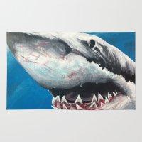 shark Area & Throw Rugs featuring Shark by Kristin Frenzel