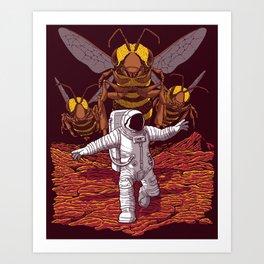 Killer bees on Mars. Art Print