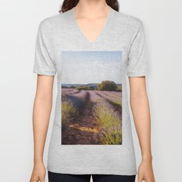 Lavender Fields at Sunset Unisex V-Neck