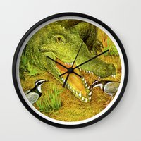 crocodile Wall Clocks featuring Crocodile by Natalie Berman