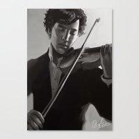sherlock holmes Canvas Prints featuring sherlock holmes by Angela Taratuta