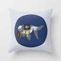 greg guillemin Throw Pillows featuring Goldfish Greg Lestrade by WhoGroovesOn
