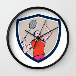 Badminton Player Racquet Striking Crest Cartoon Wall Clock