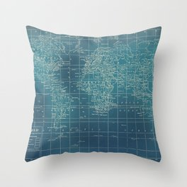 Grunge World Map Throw Pillow