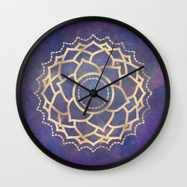 Mandala Chakra Copper and Purple Crown Chakra Wall Clock