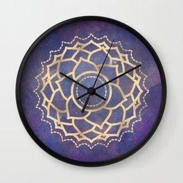Mandala Chakra Copper and Purple Crown Chakra Wall Clock