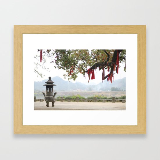 small riverside temple in china framed art print
