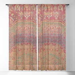 Bohemian Medallion VI // 15th Century Old Distressed Red Green Blue Coloful Ornate Rug Pattern Sheer Curtain