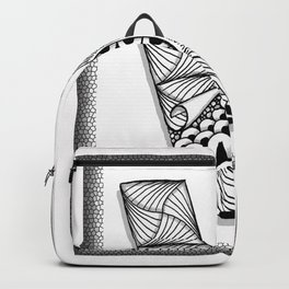 Zentangle V Monogram Alphabet Initial Backpack