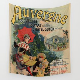 Vintage Auvergne French travel advertising Wall Tapestry