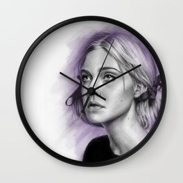 Elle Fanning Drawing - Spatter Series Wall Clock