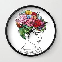 Flowered Hair Girl 2 Wall Clock