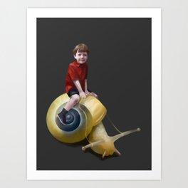Boy on a snail Art Print