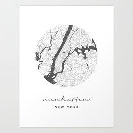 Manhattan New York Circle Street Map Art Print