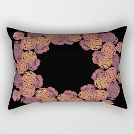 Rosey Rose Wreath, Pink Rectangular Pillow