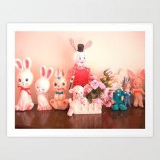 Easter in bunnyville Art Print