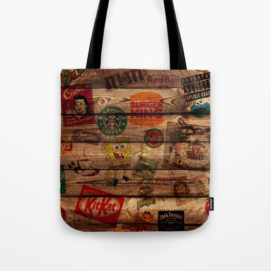 Wooden wall of Brands Tote Bag