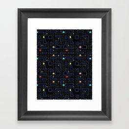 Pacman Retro Arcade Gaming Pattern Framed Art Print