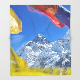 Summit of mount Everest or Chomolungma - highest mountain in the world, view from Kala Patthar,Nepal Throw Blanket