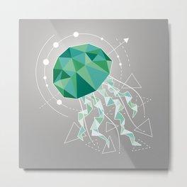 Low Poly Jellyfish Metal Print