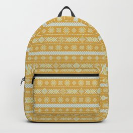 Yellow ethnic geometric embroidery Backpack