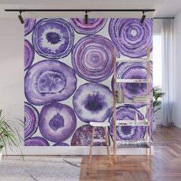 Purple agate pattern watercolor Wall Mural