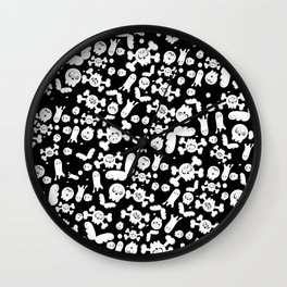 Skulls and ghosts pattern in black Wall Clock