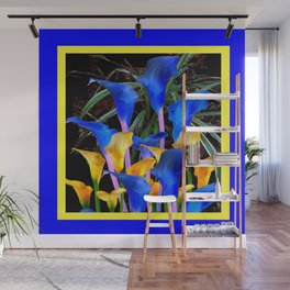 BLUE-BLACK MODERN ABSTRACT BLUE & GOLD CALLA LILIES Wall Mural