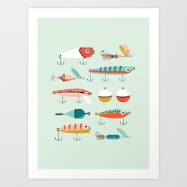 Fishing Lures Light Blue Art Print