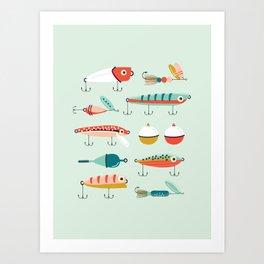 Fishing Lures Light Blue Art Print