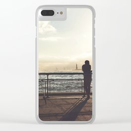 Lady Liberty, my man, some fisher people. Clear iPhone Case