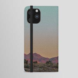 Sunset Moon Ridge // Grainy Red Mountain Range Desert Landscape Photography Yellow Fullmoon Blue Sky iPhone Wallet Case
