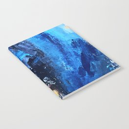 Vortex: a vibrant, blue and gold abstract mixed-media piece Notebook