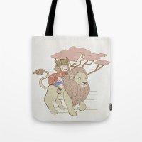onward Tote Bags featuring Onward Feline Steed! by PaperPanda Books