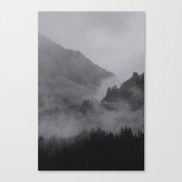 HIDDEN HILLS (graphite) / Bregenz Forest, Austria Canvas Print