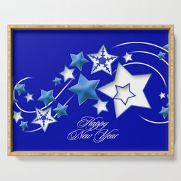 Teal and Blue Happy New Year Shooting Stars  Serving Tray