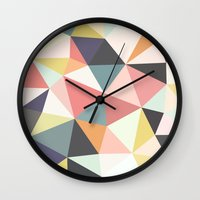 deco Wall Clocks featuring Deco Tris by Beth Thompson