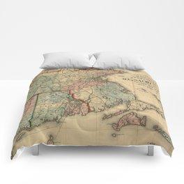 Vintage Massachusetts Railroad Map (1879) Comforters