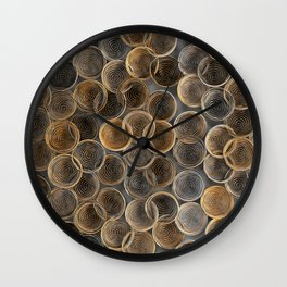 Black, white and orange spiraled coils Wall Clock