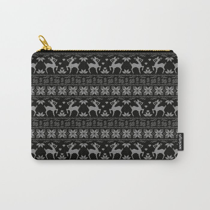 Christmas black and white, the embroidered pattern. Carry-All Pouch